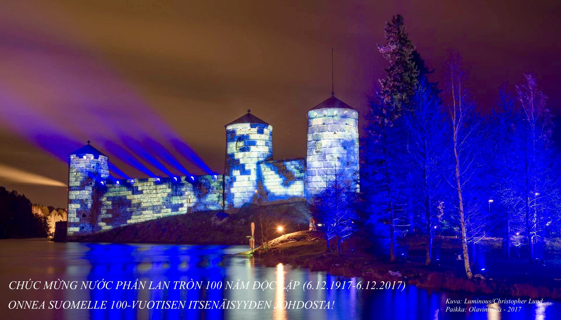 Phần Lan 100 năm độc lập 6.12.1917 – 6.12.2017 đã đạt đỉnh cao trong buổi trình diễn pháo hoa vào buổi tối 6.12.2017!